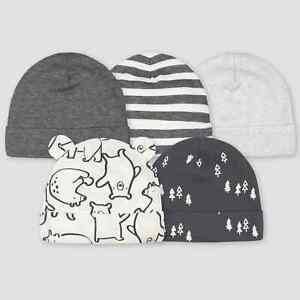 NWT Gerber Baby Boys' 5pk Bear Caps - Gray 0-6M 5 Pack NEW Beanie Hats
