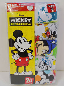 NEW 5 PACK Disney Mickey Mouse Boys Brief Size 6 Underwear FANTASIA CLASSIC