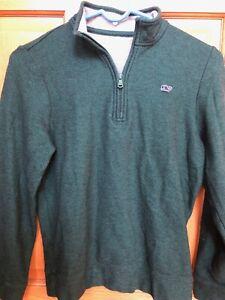NWOT Vineyard Vines Boys 12-14 Green Saltwater Quarter Zip Pullover Sweater