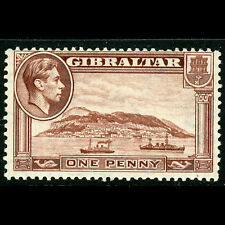 GIBRALTAR 1938-51 1d Deep Brown P.13. SG 122c. Lightly Hinged Mint. (CA568)