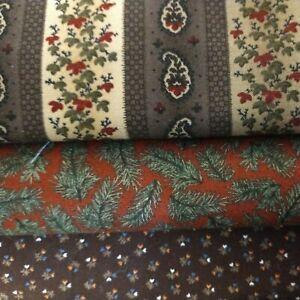 5 Yds (3 pieces) Cotton Fabric-Christmas- Thimbleberries- Moda -Cold Harbor
