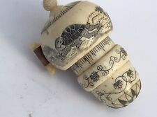 More details for rare vintage scrimshaw sewing measure tape with thimble - tortoise and the hare