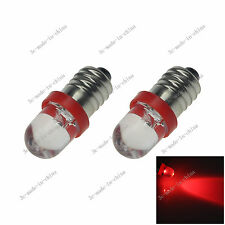 2X Red 1 In line LED E10 1447 style CAR Bulb Light for DIY LIONEL 6V - 12V 20088