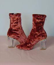 Missguided Rust Velvet Perspex Heel Ankle Boot Back Zip Detail UK 5