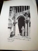 stampa in litografia PIANCASTELLI MONACO NEL CHIOSTRO