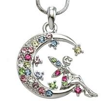 Multicolor Fairy Necklace Crescent Moon Pendant Fashion Charm Women Teens Girls