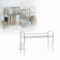 """36"""" Over Sink Dish Drying Rack Stainless Steel Kitchen Spoon  Holder 2 Shelf USA"""