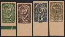 Österreich 1919 Posthorn,Wappen,Allegorie 4 ungezähnte Werte auf Andruckpapier