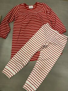HANNA ANDERSSON red white striped DRESS and LEGGINGS  Size 110 (5 US) Christmas