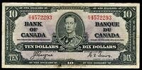 CANADA $10 DOLLARS NOTE 1937 COYNE~TOWERS NICE VF #Q182