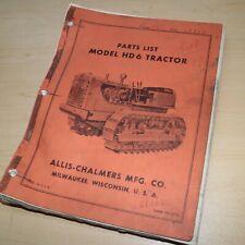 Allis Chalmers Hd6 Crawler Tractor Dozer Crawler Parts Manual Book Spare List