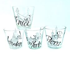 4 Lowball Whiskey Glasses 8oz World Cities Barware Made in Italy by Cerve Juice