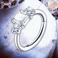 BIANCA Crystal Cartilage Earring Hinged Helix RIng Piercing Silver Tragus Hoop