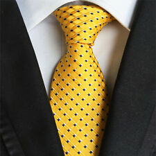Classic Mens Silk Tie Necktie Yellow blue Polka Dots Woven JACQUARD Neck Ties