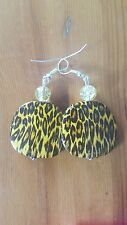 Acrylic earrings animal print 38mm crystal bead  Silver plated hooks.