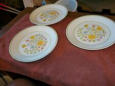 "3-Vintage Retired Corelle ""Meadow"" 8 1/2"" Lunch Salad Plates / Dishes"