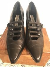 Vintage VIA SPIGA BLACK Soft LEATHER VICTORIAN GRANNY 8M HOT SEXY MADE IN  ITALY