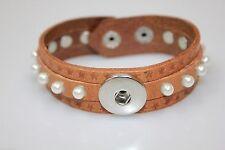 Markenlose Modeschmuck-Armbänder aus Leder mit Perlen (Imitation) für Damen