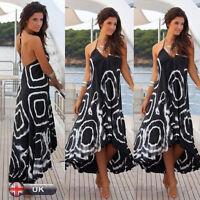 UK Women Ladies Summer Beach Long Dress Maxi Boho Evening Cocktail Party Dresses