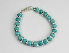 Pretty bracelet ~ turquoise abacus stone beads & silver snowflake spacers