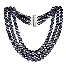"""Sterling Silver 4-9mm Black Freshwater Pearl Graduated 3 Row Choker Necklace 16"""""""
