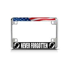 NEVER FORGOTTEN WHITE BLACK Chrome Metal Bike Motorcycle License Plate Frame Tag