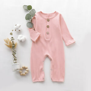 Baby Infant Toddler Solid Long Sleeve Romper Casual Jumpsuit Outfit