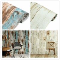 Vinyl 3D Retro Wood Wallpaper Roll Self Adhesive Furniture Film Wall Stickers 6m