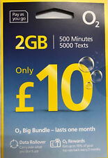 2 x o2 big bundles 500 mins 5000 texts 2GB data sim card - official pack
