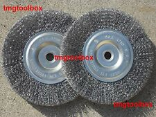 2 PC 6'' STEEL WIRE  WHEEL BRUSH, CRIMPED 5/8'' & 1/2'' BORE FOR BENCH GRINDER
