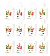 12PCS Unicorn Goodie Bags Paper Gift Bags Treat Bag Birthday Supplies for Girls