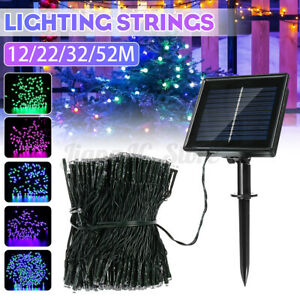 8 Modes Christmas Solar LED String Light Fairy Starry Wedding Party Decor 12-52M