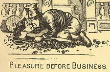 1880s PLEASURE, ILION NY, BOOTS SHOES RUBBERS CO TRADE CARD, FREE SHIP, TC246