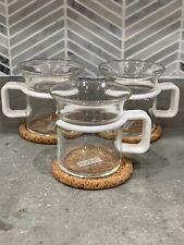 Bodum Bistro Café Coffee Espresso White Handle Glass Cups Mugs Picard EUC