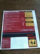 Troy Bilt Pony Tiller Decals
