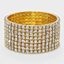 Rhinestone Bracelet 8 Row Wide Stretch Bangle Crystal Pave Wedding Bride GOLD