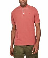 G-Star Raw Mens Sweater Red Size 2XL Faded Short Sleeve Polo Rugby $85 #077