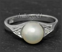 Diamant Perle Ring aus 585 Gold, weiße 6,8mm Perle, Vintage ca 1950