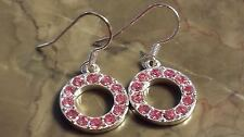 Pewter Eternity Circle Pink Cz Earrings