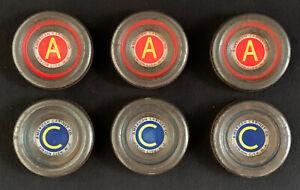 6 Very Rare Vintage 1940s American Cabinet Co. Metal Shuffleboard Weights Pucks