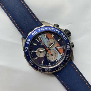 TAG HEUER Formula 1 Quartz Chronograph Gulf Edition Blue Dial Leather CAZ101N