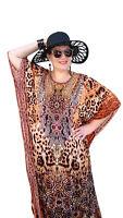 NEW Designer Embellished Kaftan Animal Print/ Jewelled Caftan Dress Leopard LONG