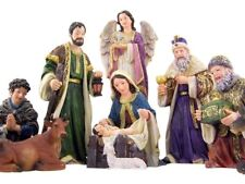 Holy Family with Wise Men Shepherd and Angel Deluxe Nativity Statue, 12 Inch