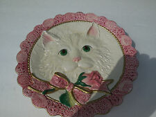 Rare Fitz & Floyd Essentials White Kitten & Roses Canape Plate / Wall Hanging