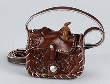 "NEW! Western Leather Saddle Change Purse, 3"" x 3 1/4"" Black Brown Burgundy/Wine"