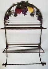 Iron Fruit Two Tier Hanging/Folding Wall Shelf With Towel Bar