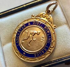 Lovely Old Antique Solid 9 Carat Gold Full Hallmarked Lancaster Bowling Medal