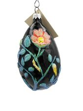 Patricia Breen Ornament Chrysalis Egg Black Glitter Floral Insects 1996