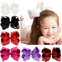 Girls Pro Big Bows Boutique Hair Clip Pin Alligator Clips Grosgrain Ribbo Gift