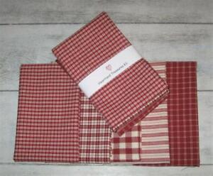 Dunroven House 5 Homespun Fabric  Red ~ Cream   Fat Quarter Bundle